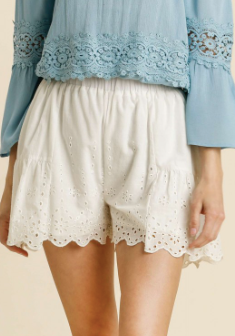 Sweet & Simple Eyelet Shorts - Olive Vines Boutique
