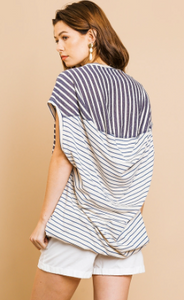 Jules Striped Short Sleeve Top - Olive Vines Boutique