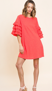 Strawberry Wine Ruffled Sleeve Dress - Olive Vines Boutique