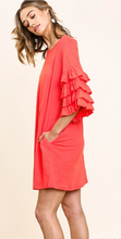 Load image into Gallery viewer, Strawberry Wine Ruffled Sleeve Dress - Olive Vines Boutique