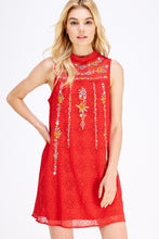 Load image into Gallery viewer, Rosy Red Embroidered Dress - Olive Vines Boutique