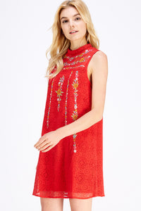 Rosy Red Embroidered Dress - Olive Vines Boutique