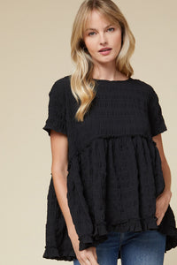 Texture and Frills Babydoll Top - Olive Vines Boutique