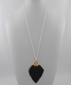 Leopard Cap Thread Tassel Necklace - Olive Vines Boutique