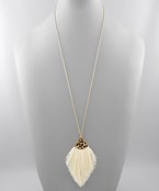 Load image into Gallery viewer, Leopard Cap Thread Tassel Necklace - Olive Vines Boutique