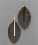 Bar & Leather Feather Earrings - Olive Vines Boutique
