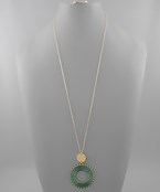 Thread Wrapped Circle Necklace - Olive Vines Boutique