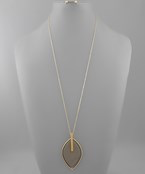 Leather Marquise & Bar Necklace - Olive Vines Boutique