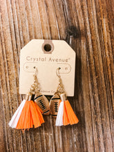Load image into Gallery viewer, Football and Raffia Tassel Earrings