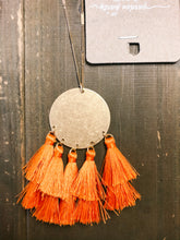 Load image into Gallery viewer, Orange Disc & Multi Tassel Necklace - Olive Vines Boutique