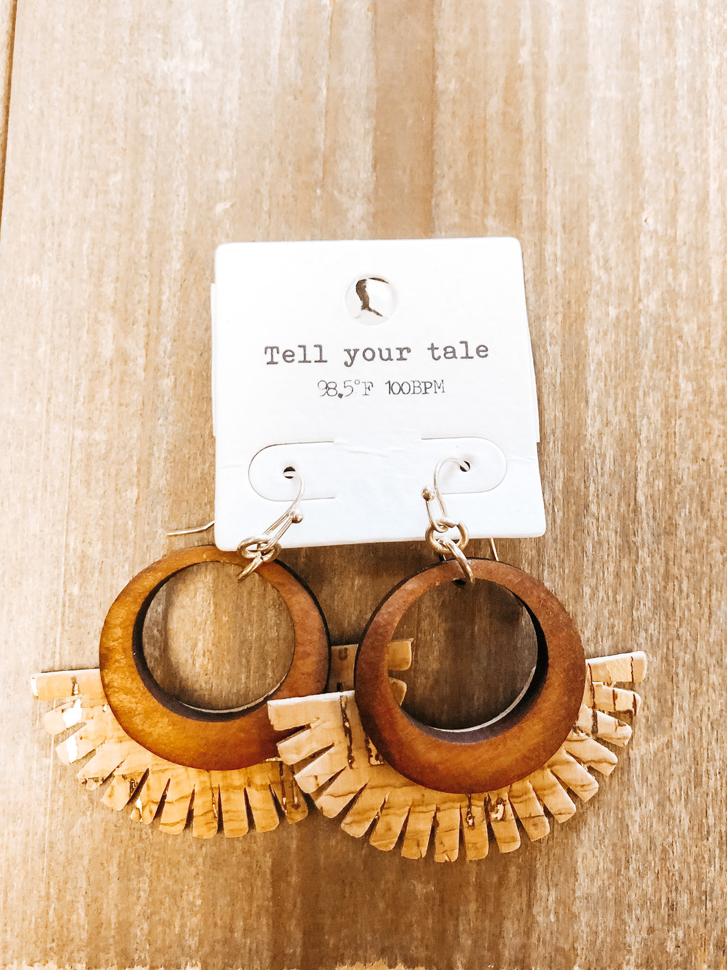 Wood Circle Cork Tassel Earrings - Olive Vines Boutique