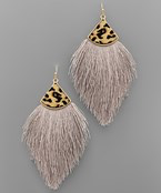 Leopard Cap Tassel Earrings - Olive Vines Boutique