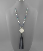 Shell Disc & Tassel Bead Necklace - Olive Vines Boutique