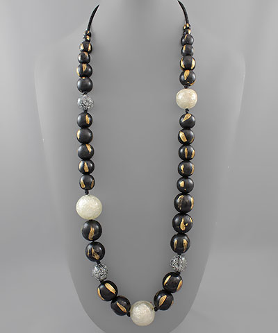 Wood & Capiz Ball Necklace - Olive Vines Boutique