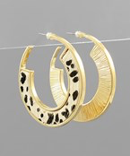 Animal Cowhide Hoops - Olive Vines Boutique