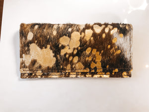 Hair-on-hide Leather Wallet- Mixed Metallic - Olive Vines Boutique