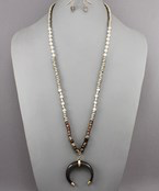 Crescent & Bead Necklace - Olive Vines Boutique
