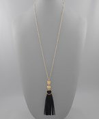 Geometric & Leather Tassel Necklace - Olive Vines Boutique