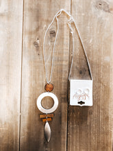 Load image into Gallery viewer, Marquise & Circle Wood Necklace - Olive Vines Boutique