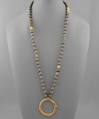 Circle & Wood Stone Ball Necklace - Olive Vines Boutique