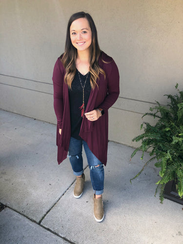 All Year Long Hooded Cardigan - Olive Vines Boutique