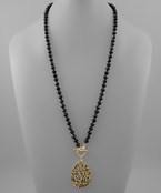 Teardrop & Glass Bead Necklace - Olive Vines Boutique