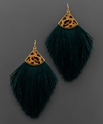 Load image into Gallery viewer, Leopard Cap Tassel Earrings - Olive Vines Boutique