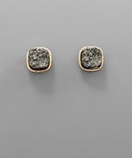 Load image into Gallery viewer, SQUARE DRUZY EARRING - Olive Vines Boutique