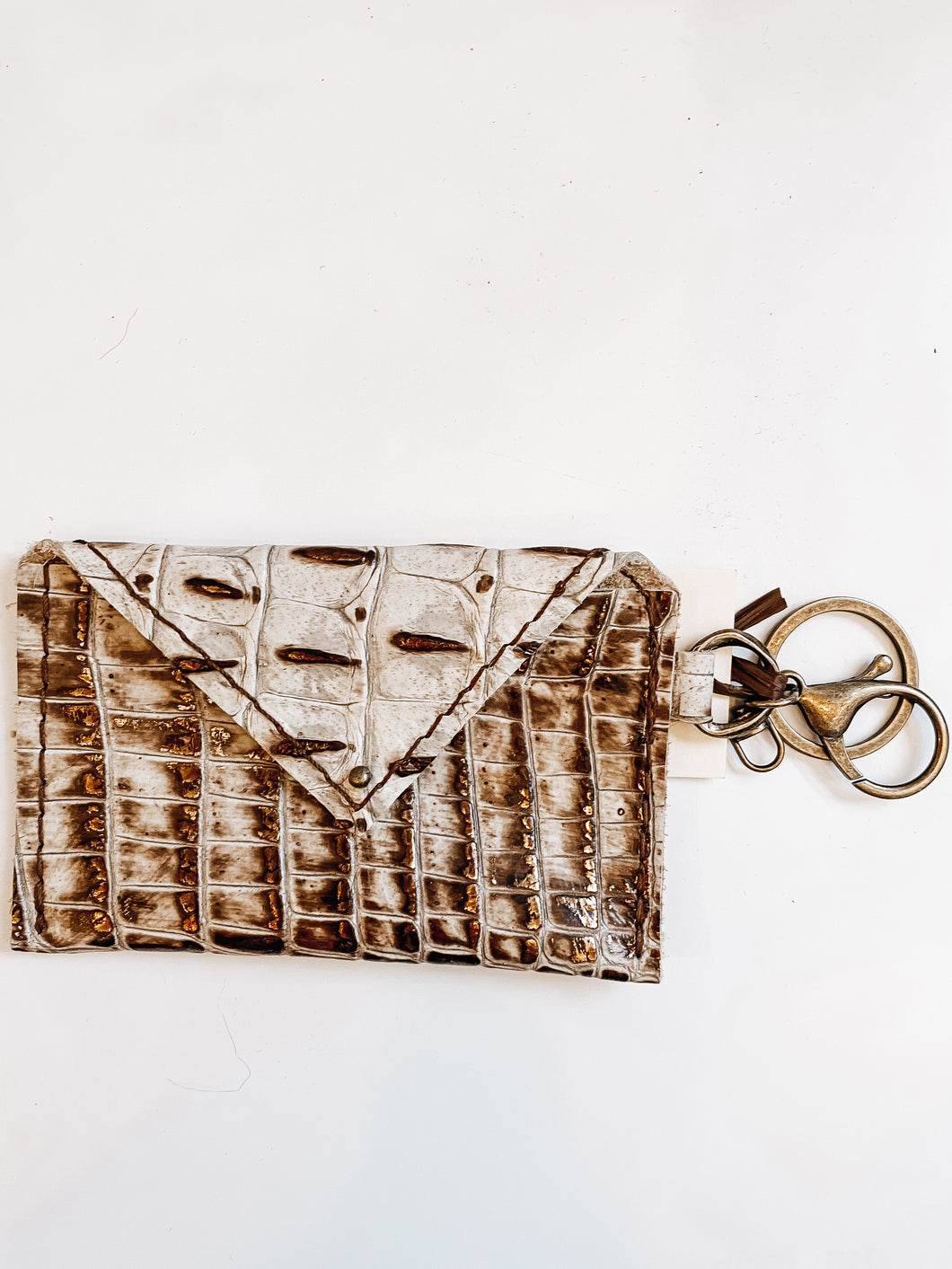 Sierra Credit Card Wallet - Cream and Bronze Gator - Olive Vines Boutique