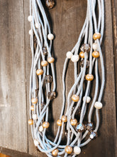 Load image into Gallery viewer, Wood & Crystal Rows Necklace - Olive Vines Boutique