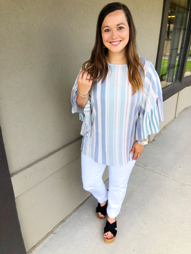 Sophia Striped Bell Sleeve Top - Olive Vines Boutique