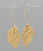 Snake Leather Feather Earrings - Olive Vines Boutique