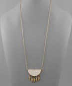 Load image into Gallery viewer, Wedge Stone & Multi Marquise Necklace - Olive Vines Boutique