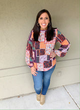 Load image into Gallery viewer, Boho Fall Floral Top - Olive Vines Boutique
