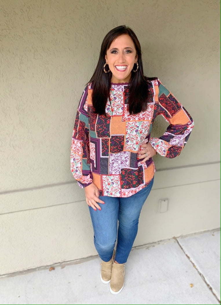 Boho Fall Floral Top - Olive Vines Boutique