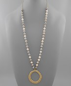 Hammered Circle & Stone Necklace - Olive Vines Boutique