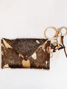 Sierra Credit Card Wallet-Hair on Hide Tan and Gold - Olive Vines Boutique