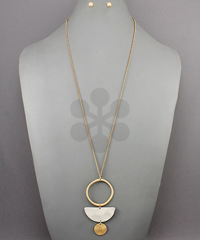 Circle & Wedge Disc Dangle Necklace - Olive Vines Boutique