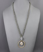 Circle & Stone Necklace - Olive Vines Boutique