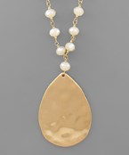 Load image into Gallery viewer, Teardrop Pendant Bead Necklace - Olive Vines Boutique