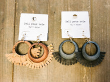 Load image into Gallery viewer, Wood Circle Cork Tassel Earrings - Olive Vines Boutique