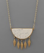 Wedge Stone & Multi Marquise Necklace - Olive Vines Boutique