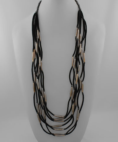 Horn Bar & Velvet Cord Necklace - Olive Vines Boutique