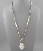 Load image into Gallery viewer, Teardrop & Glass Bead Necklace - Olive Vines Boutique