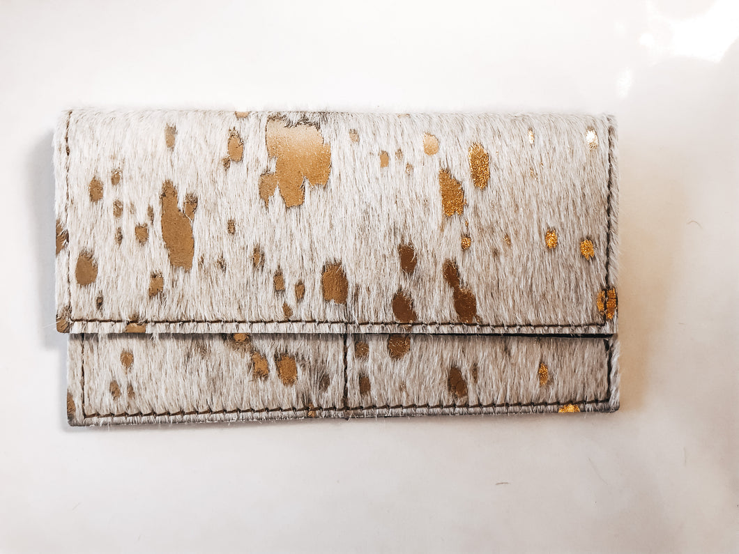 Hair-on-hide Leather Wallet- Gold Metallic - Olive Vines Boutique