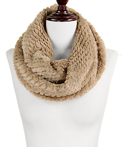 Textured Faux Fur Infinity Scarf - Olive Vines Boutique