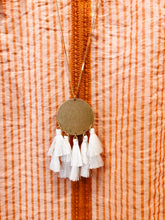 Load image into Gallery viewer, White Disc & Multi Tassel Necklace - Olive Vines Boutique