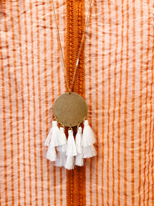 White Disc & Multi Tassel Necklace - Olive Vines Boutique