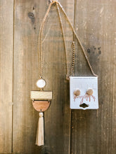 Load image into Gallery viewer, Wood & Rattan Tassel Earrings - Olive Vines Boutique