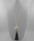 Stone & Leather Tassel Necklace - Olive Vines Boutique